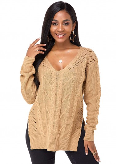 V Neck Side Slit Long Sleeve Sweater - L
