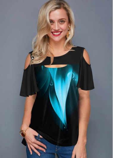 Cold Shoulder Cutout Front Printed T Shirt - S