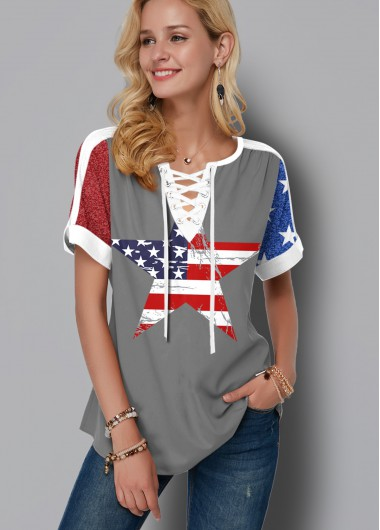 Flag Print Lace Up Short Sleeve Blouse - XS