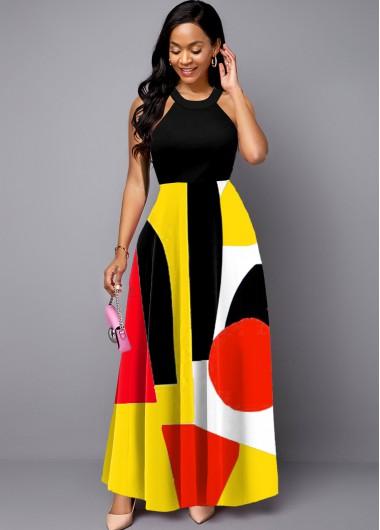 Geometric Print Bib Neck Sleeveless Maxi Dress - L