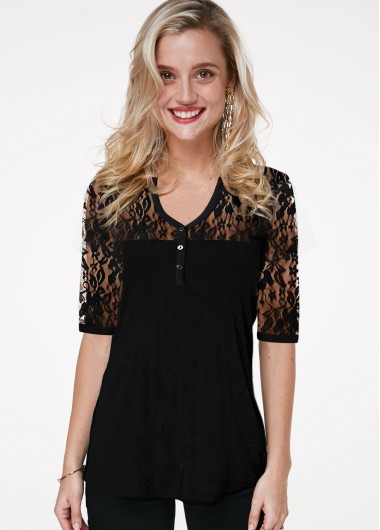 Lace Panel V Neck Half Sleeve T Shirt - L