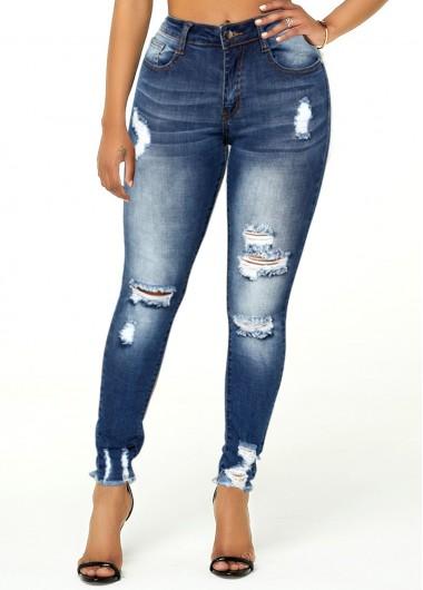 Shredded Acid Washed Frayed Hem Jeans - L