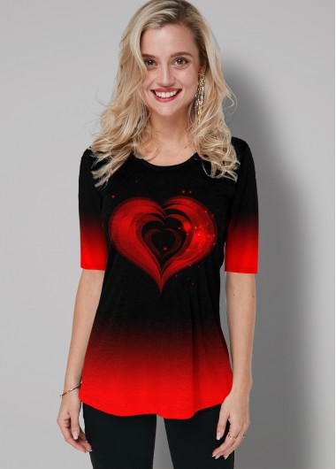 Ombre Heart Print Round Neck T Shirt - L