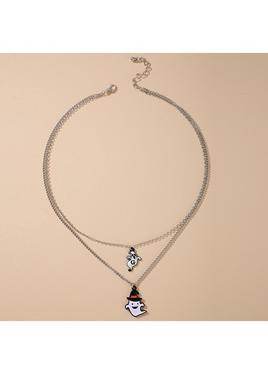 Halloween Ghost Design Silver Metal Necklace - One Size