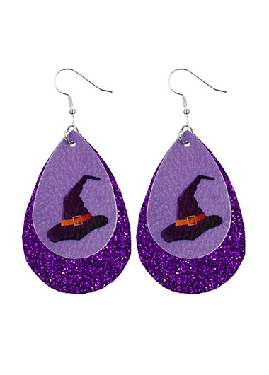 Water Drop Shape Halloween Print Earring Set - One Size
