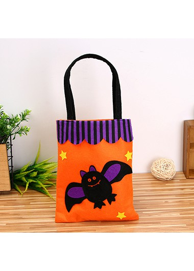 Halloween Bat Pattern Orange Tote Bag - One Size