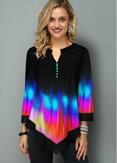 Asymmetric Hem Rainbow Color Printed T Shirt - L