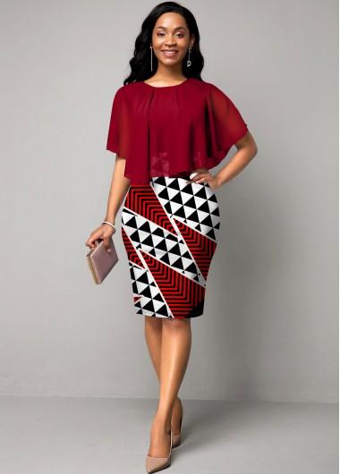 Geometric Print Chiffon Overlay Round Neck Dress - L