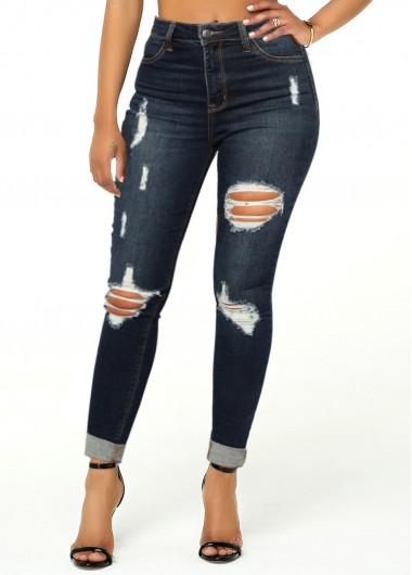 Shredded Roll Hem Pocket Mid Waist Jeans - L