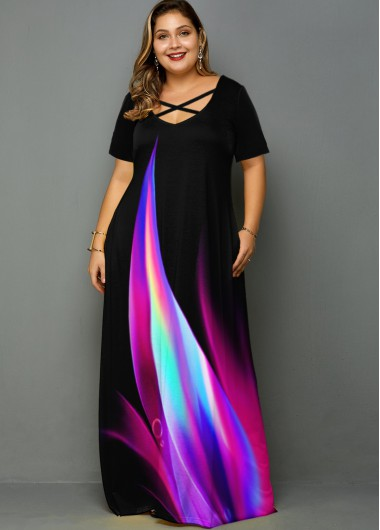 Plus Size Rainbow Print Side Pocket Maxi Dress - 1X