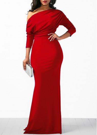 Christmas Holiday Dress Skew Neck Three Quarter Sleeve Maxi Dress - L