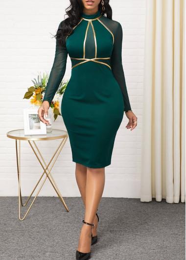 Christmas Holiday Dress Mesh Panel Long Sleeve Contrast Dress - L