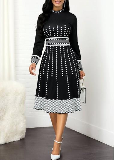 Geometric Print Round Neck Long Sleeve Dress - S
