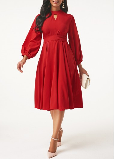 Christmas Holiday Dress Lantern Sleeve Keyhole Neckline Red Dress - L