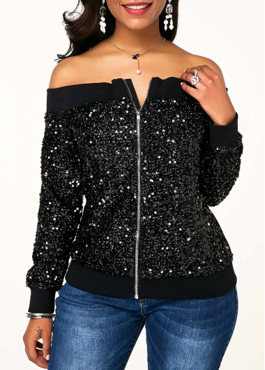 Zipper Closure Off Shoulder Sequin Jacket - L
