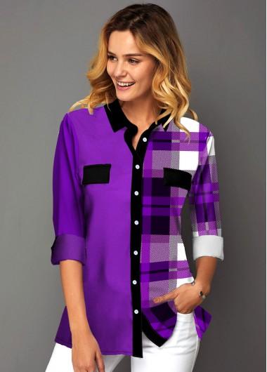Button Up Plaid Print Turndown Collar Shirt - L