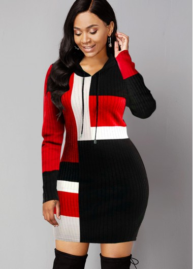 Contrast Long Sleeve Hooded Collar Sweater Dress - L