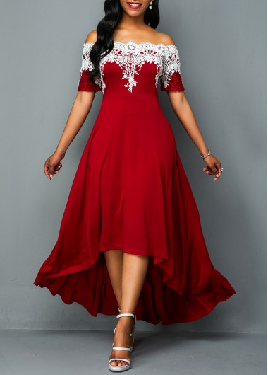 Christmas Holiday Dress Lace Panel Off Shoulder High Low Dress - L