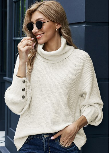 Turndown Collar Long Sleeve Button Sweater - L