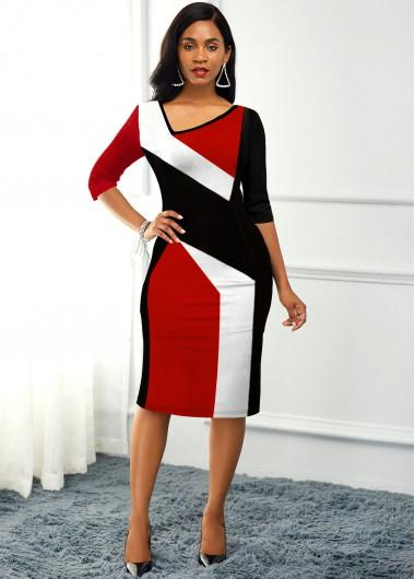 Color Block Back Slit Asymmetric Neck Dress - L