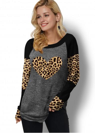 Leopard Print Contrast Long Sleeve T Shirt - L