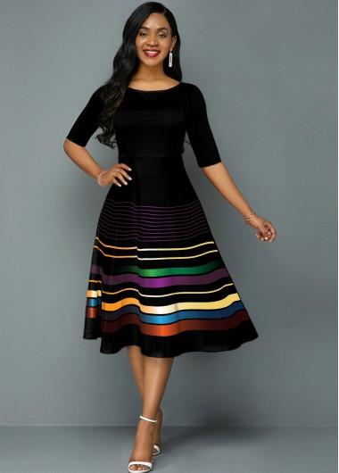 Rainbow Stripe Round Neck Half Sleeve A Line Dress - L