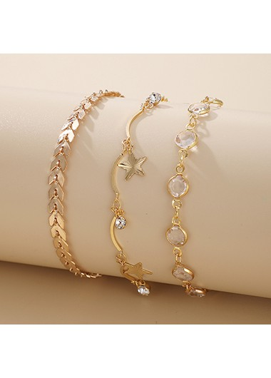 Gold Metal Starfish Arrow Design Bracelet Set - One Size