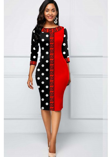 Halloween Polka Dot and Tribal Print Sheath Dress - L
