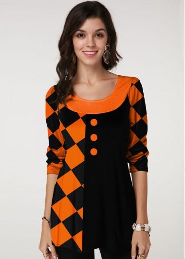 Halloween Print Round Neck Long Sleeve T Shirt - L