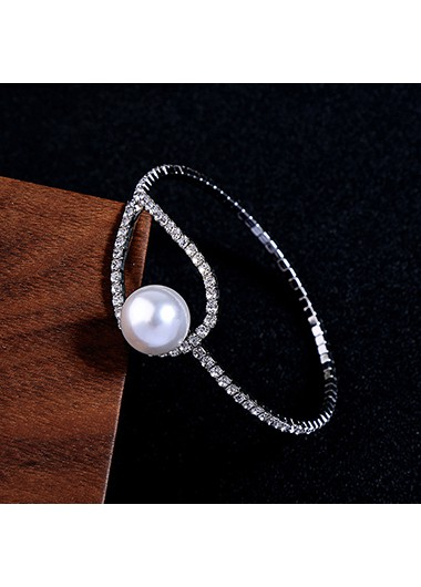 Pearl and Rhinestone Detail Silver Metal Bangle - One Size