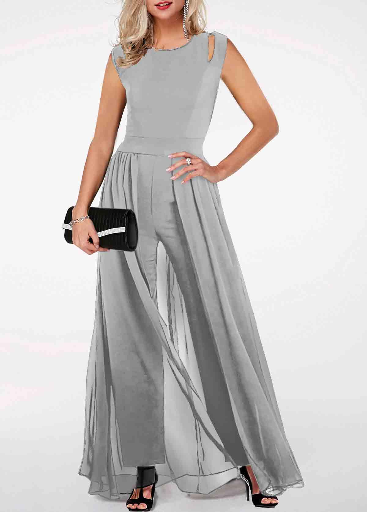 Round Neck High Waist Light Grey Jumpsuit