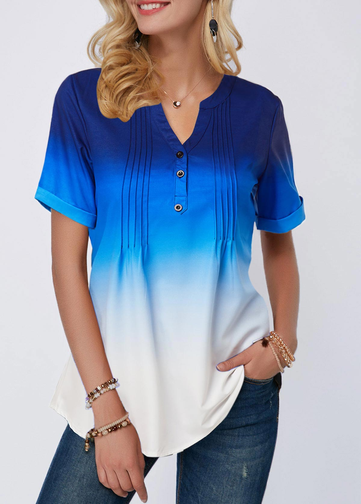 Split Neck Button Detail Crinkle Chest Ombre Blouse