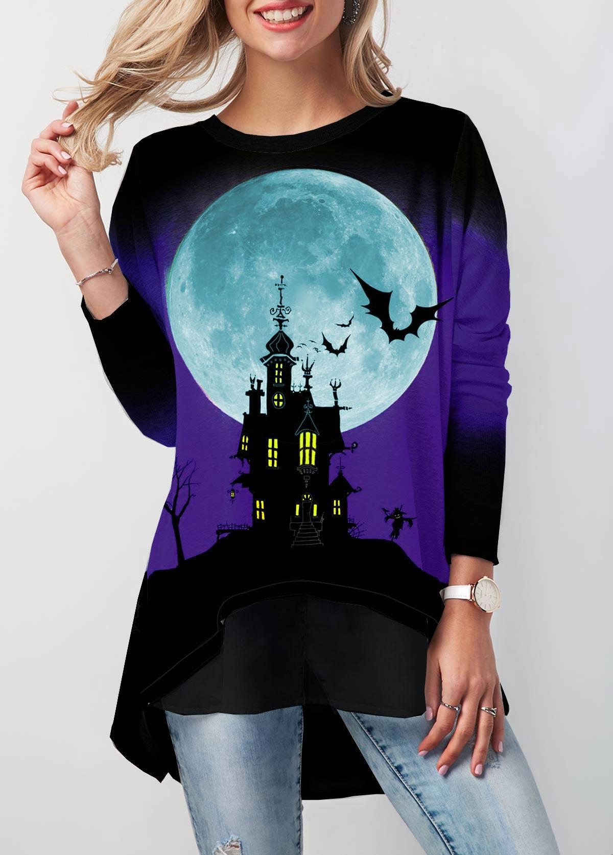 Halloween Print Button Detail Dip Hem T Shirt