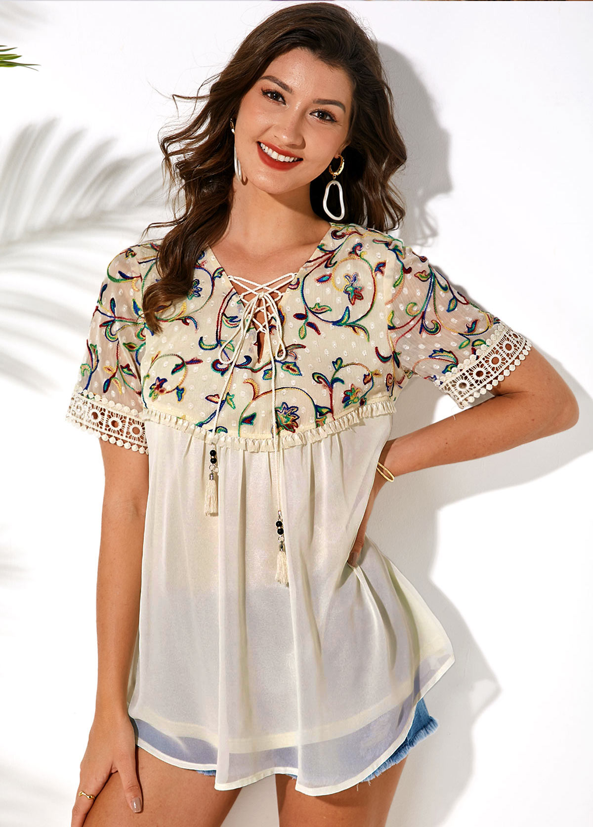 Embroidered Lace Up Short Sleeve T Shirt