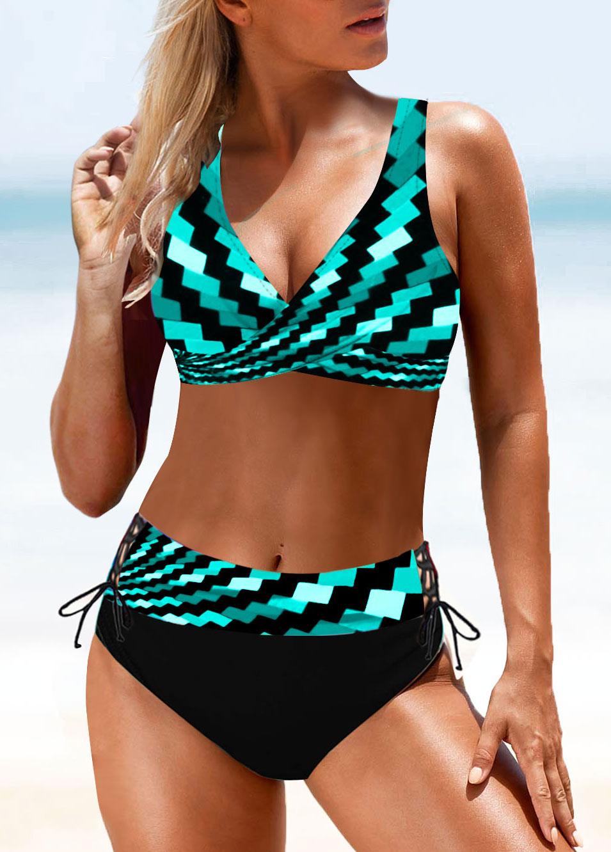 Geometric Print Tie Back Drawstring Waist Bikini Set