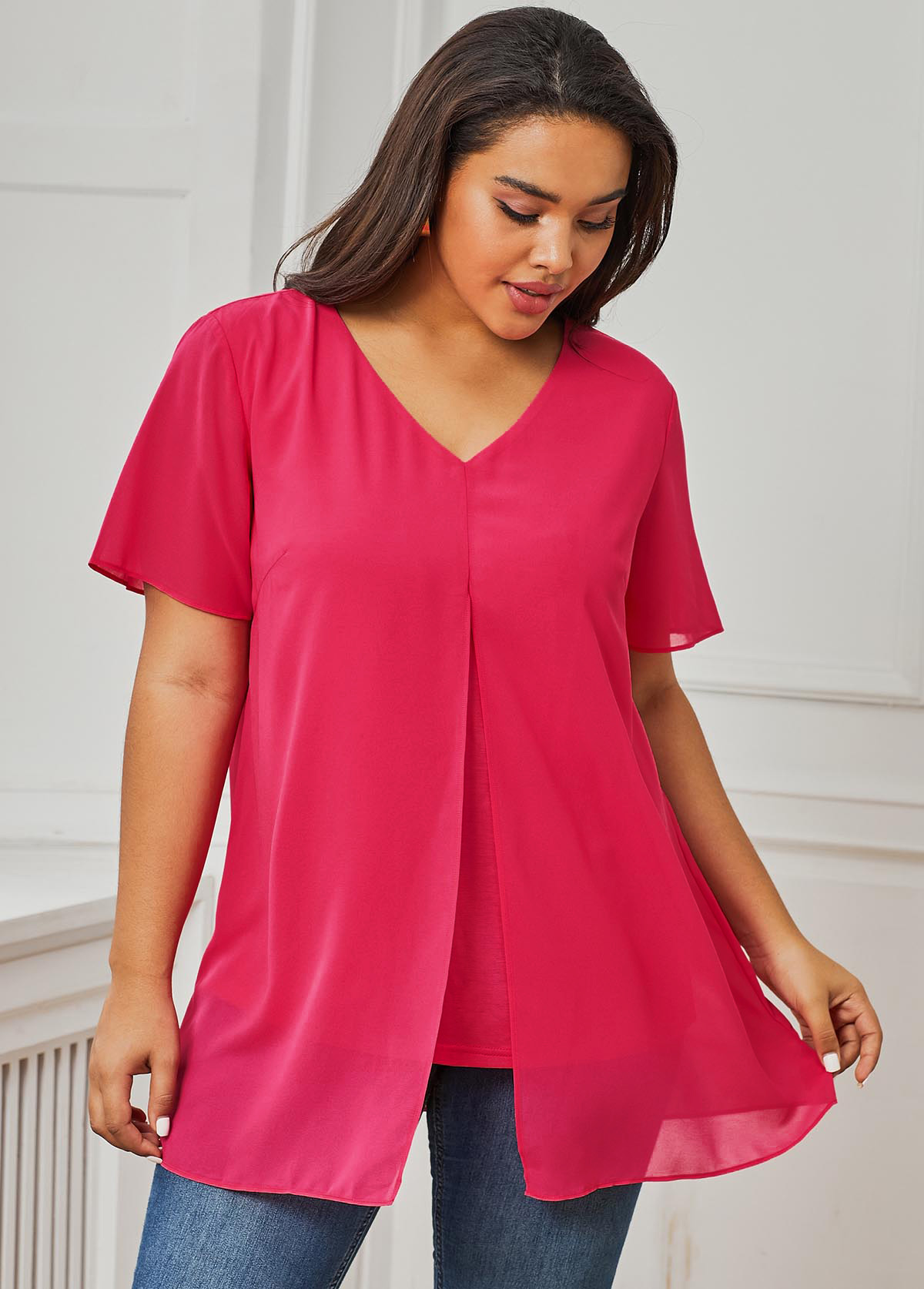 V Neck Short Sleeve Pink Plus Size T Shirt