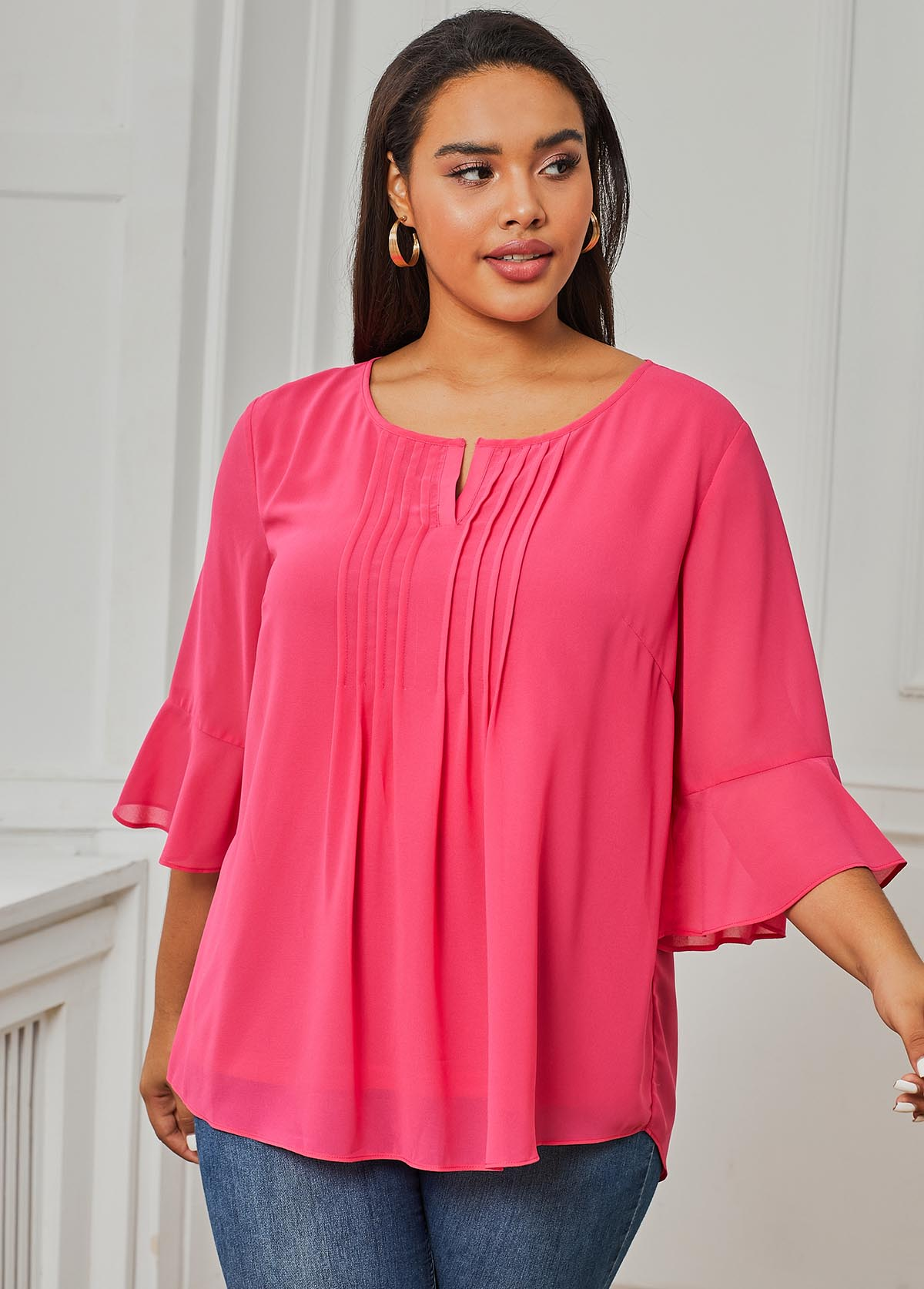 Pink Crinkle Chest Three Quarter Sleeve Plus Size Blouse