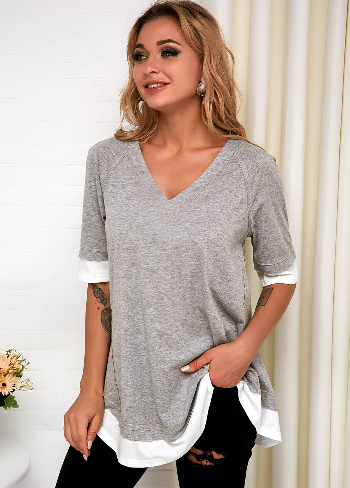 V Neck Faux Two Piece Grey T Shirt
