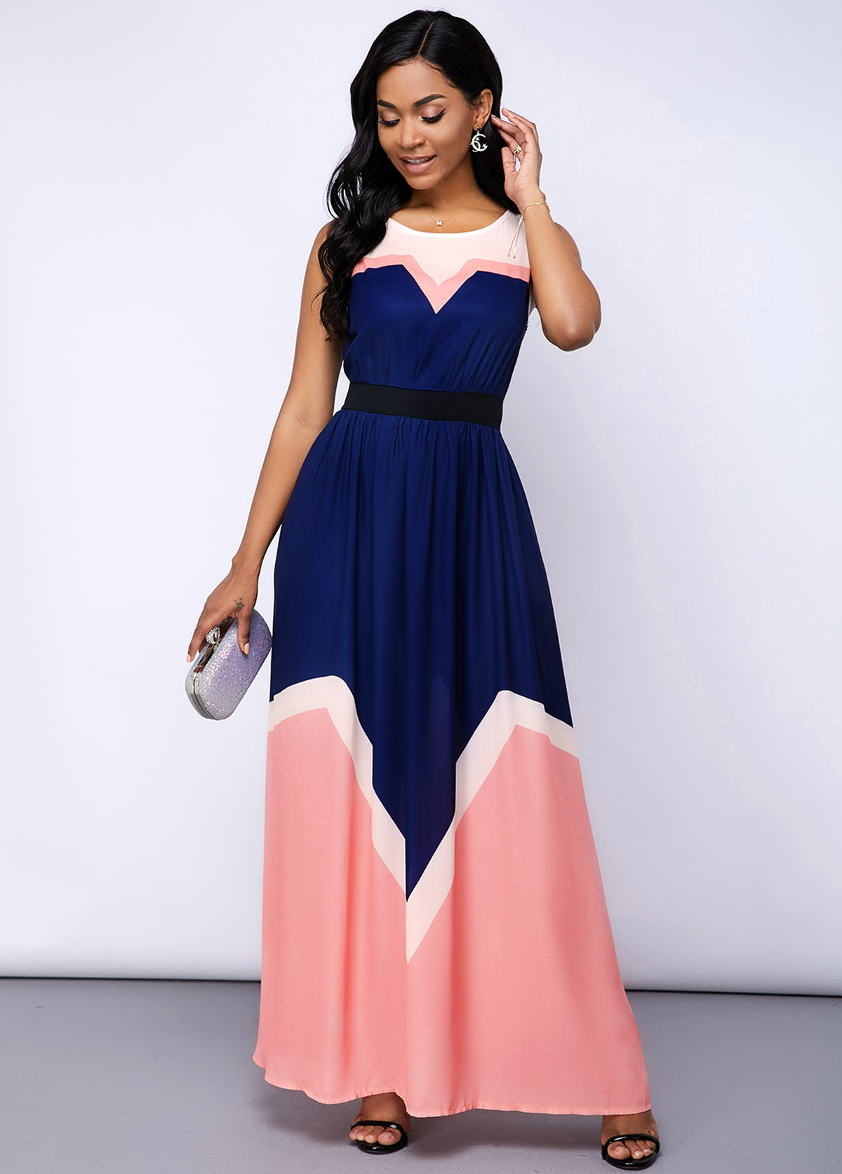 Contrast Round Neck Sleeveless Maxi Dress