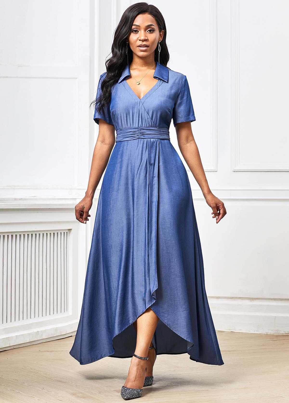 Asymmetric Hem Plunging Neck Short Sleeve Maxi Dress
