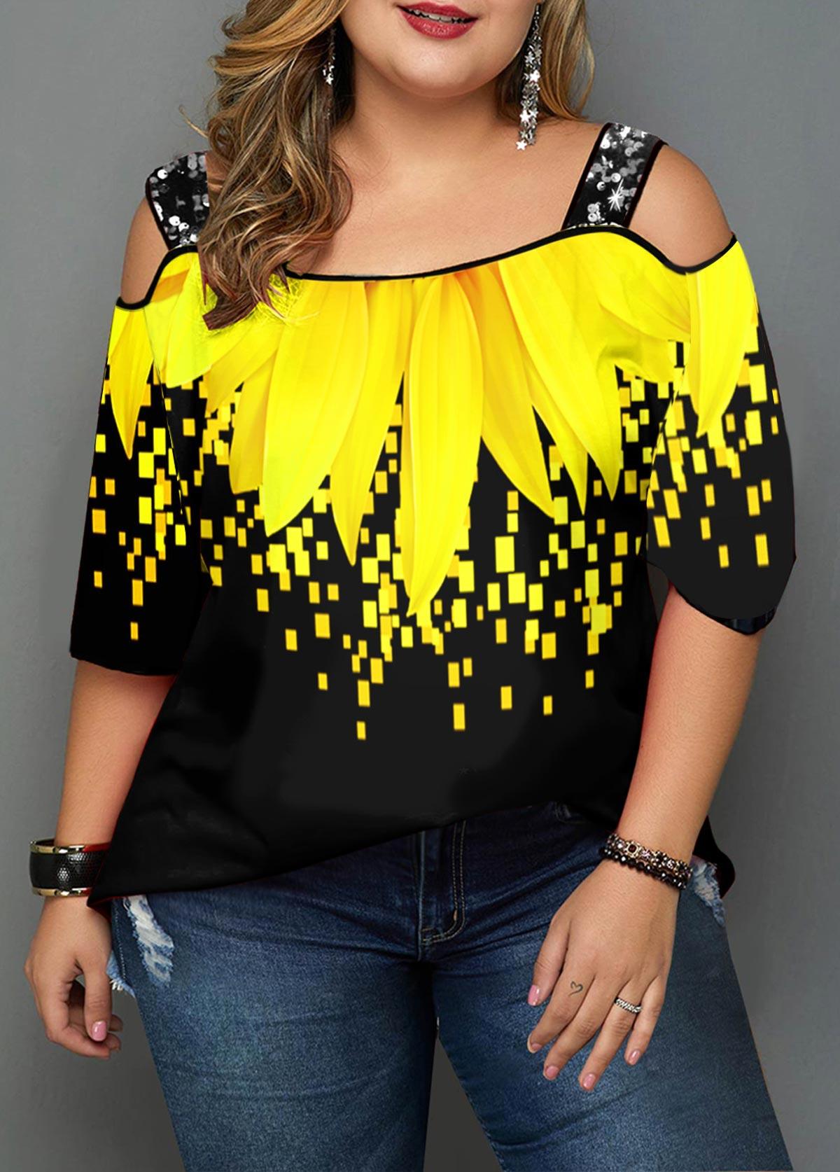 Plus Size Sunflower Print Cold Shoulder T Shirt
