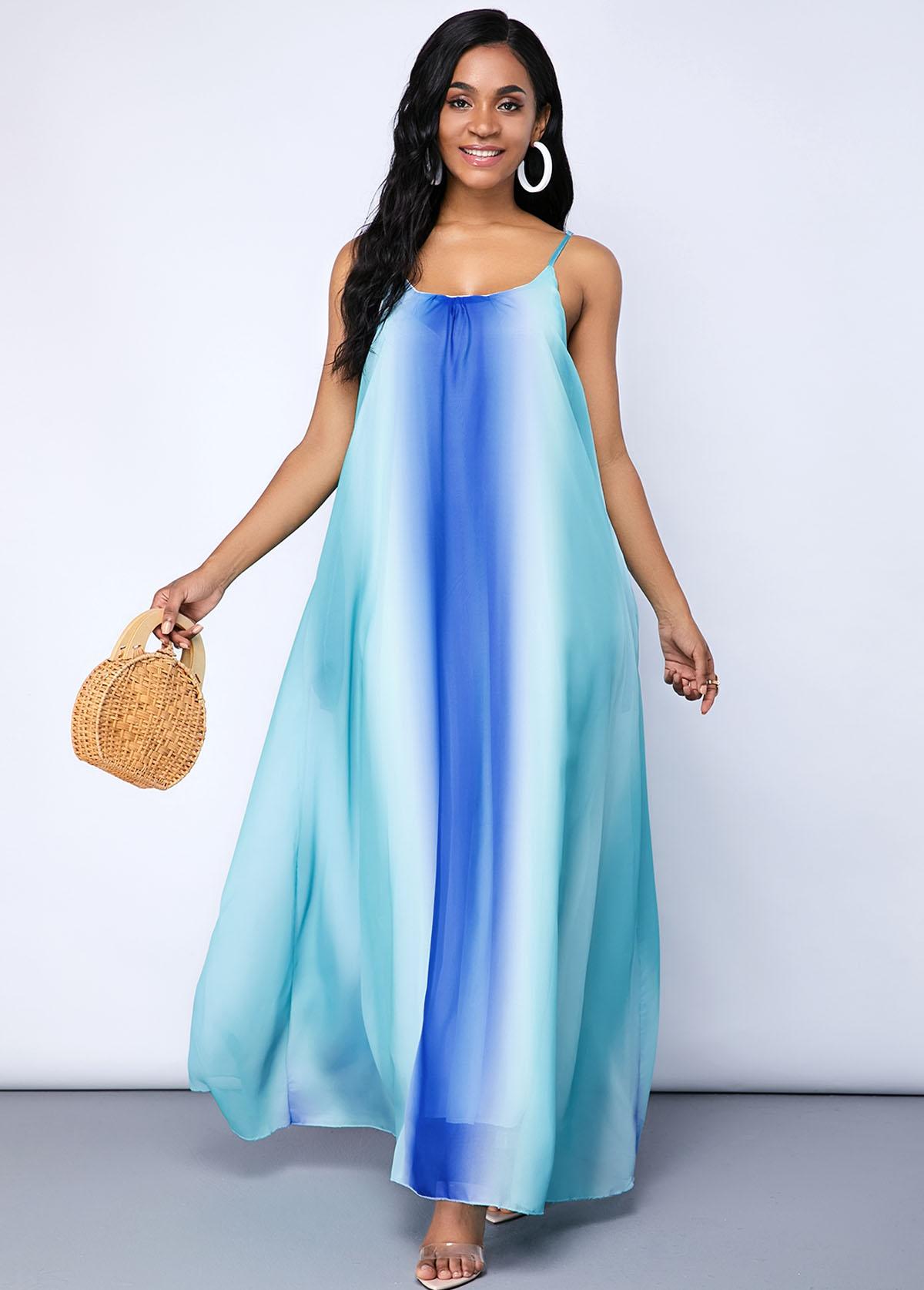 Tie Dye Print Spaghetti Strap Pocket Maxi Dress
