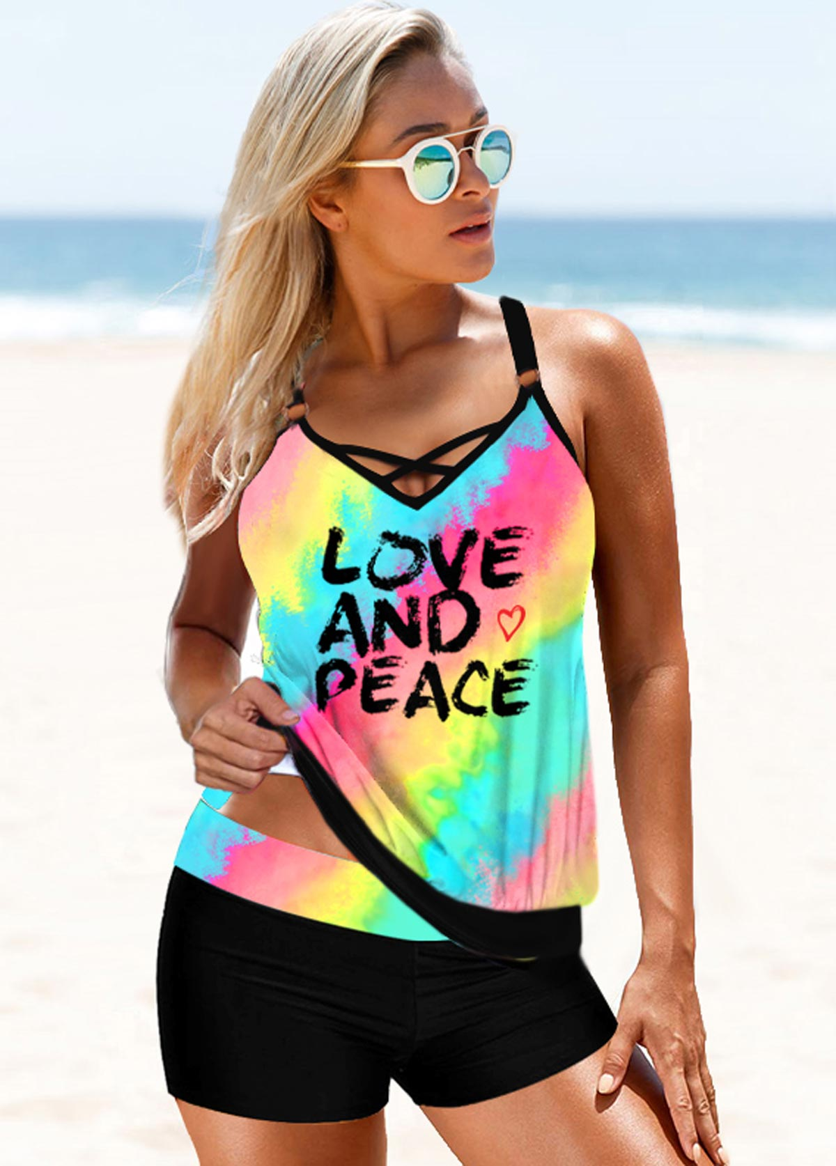 Rainbow Color Letter Print Strappy Back Tankini Set