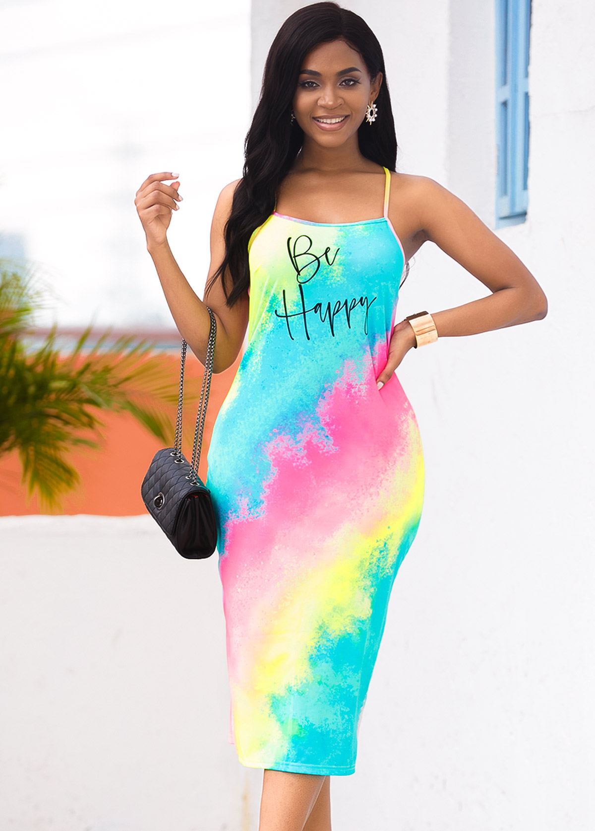 Spaghetti Strap Letter Print Rainbow Color Dress