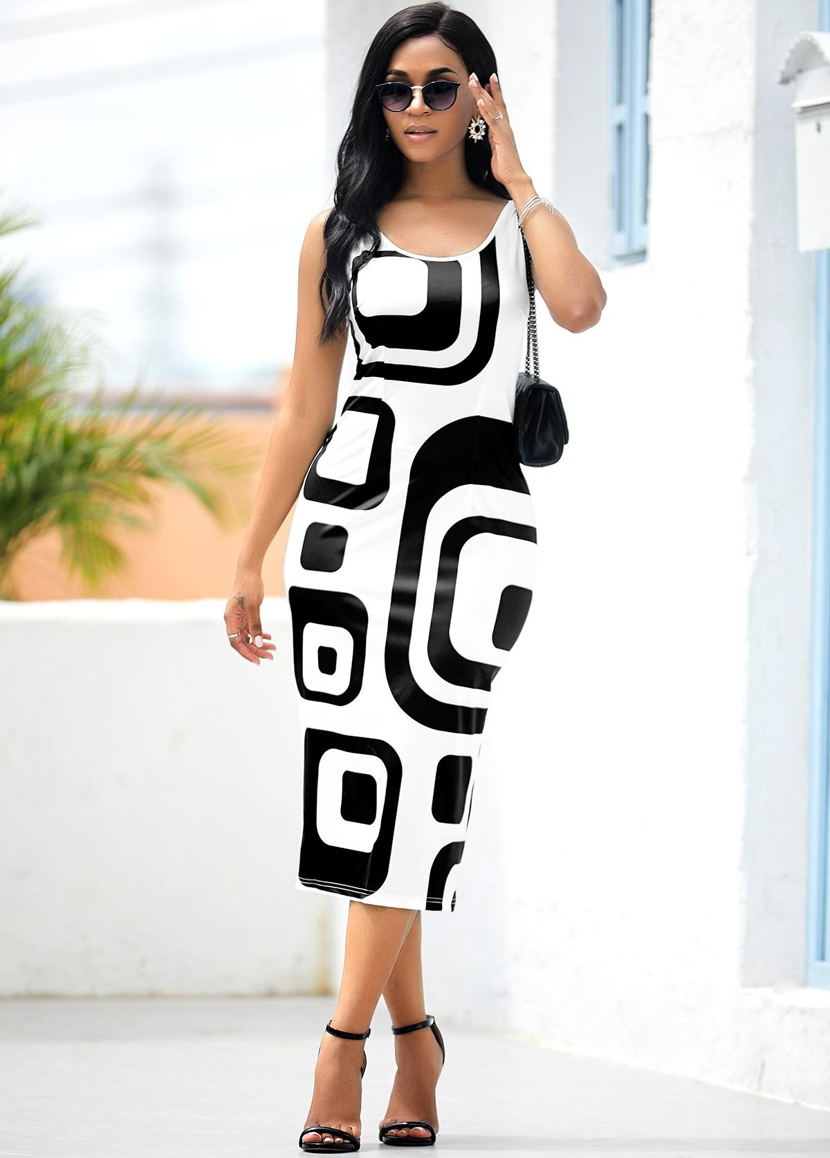 Geometric Print Sleeveless White Bodycon Dress