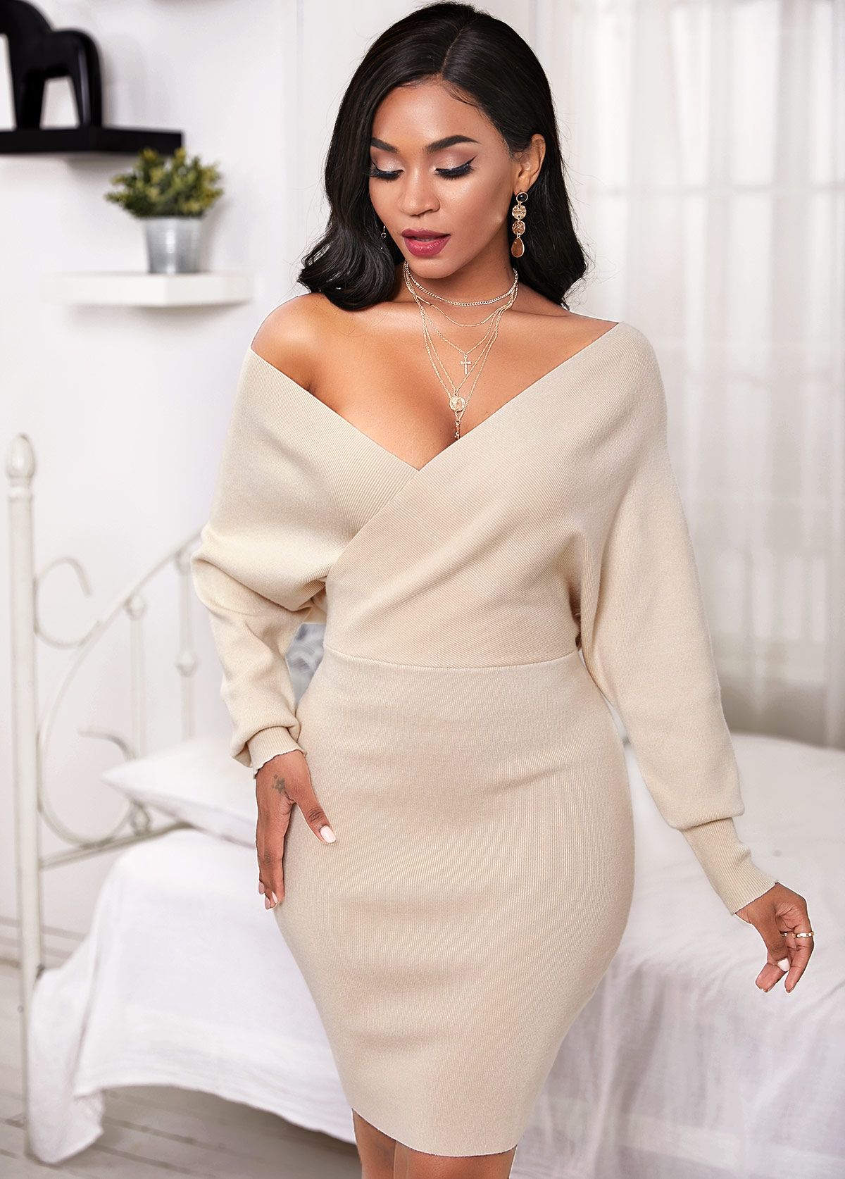 V Neck Crossover Batwing Sleeve Sweater Dress