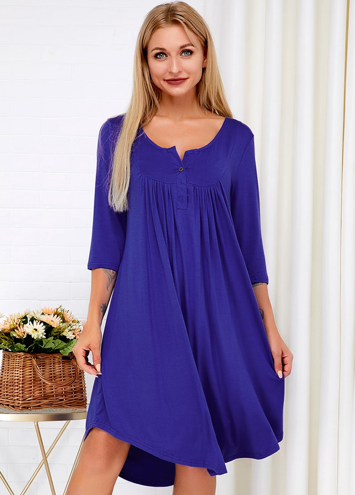 Button Detail Curved Hem Three Quarter Sleeve Dress