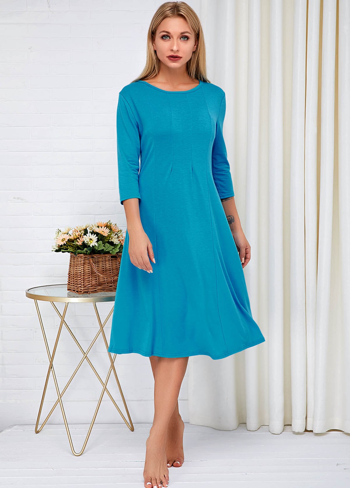 Round Neck Three Quarter Sleeve Blue Dress