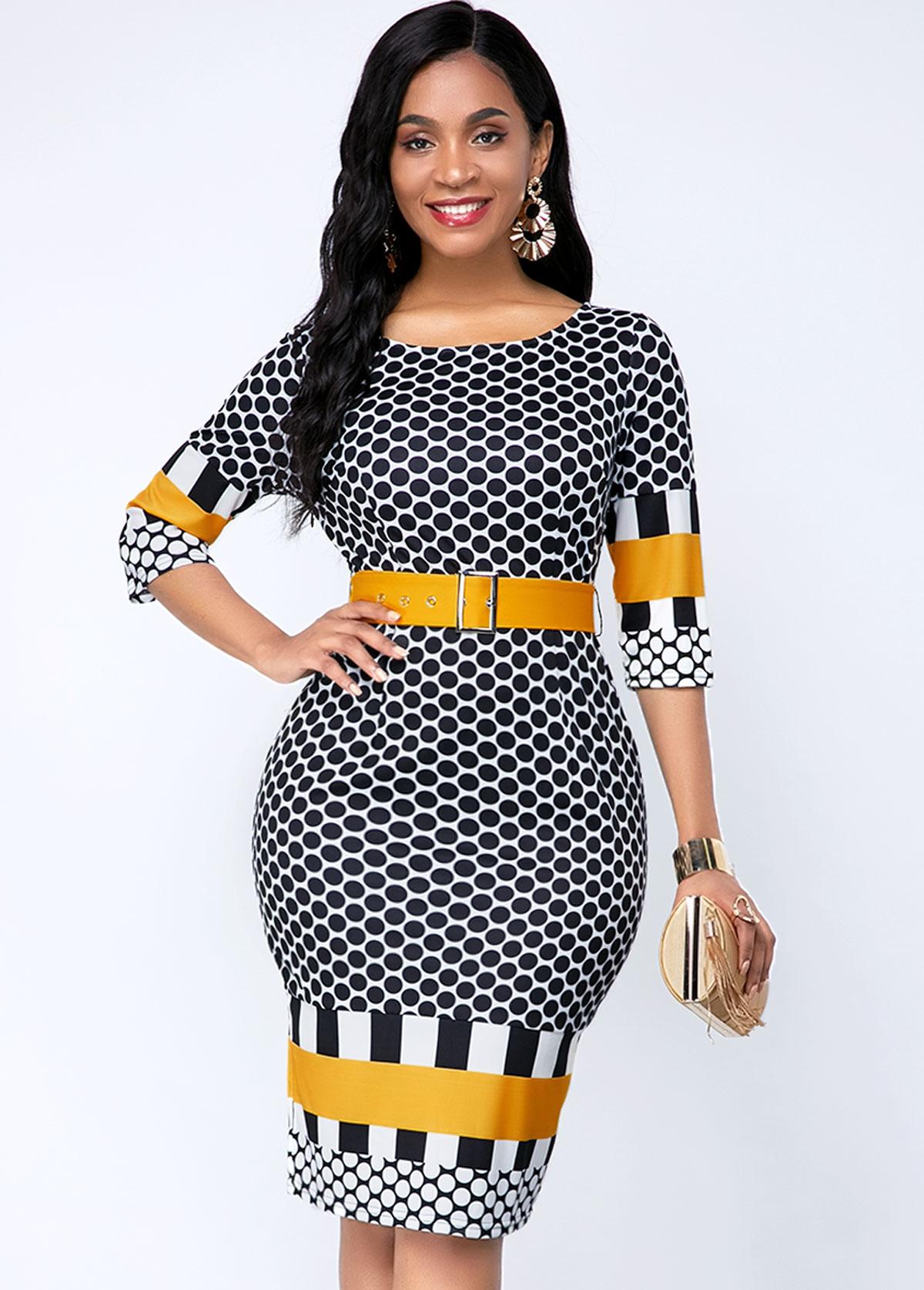 Geometric Print Buckle Belted Three Quarter Sleeve Dress