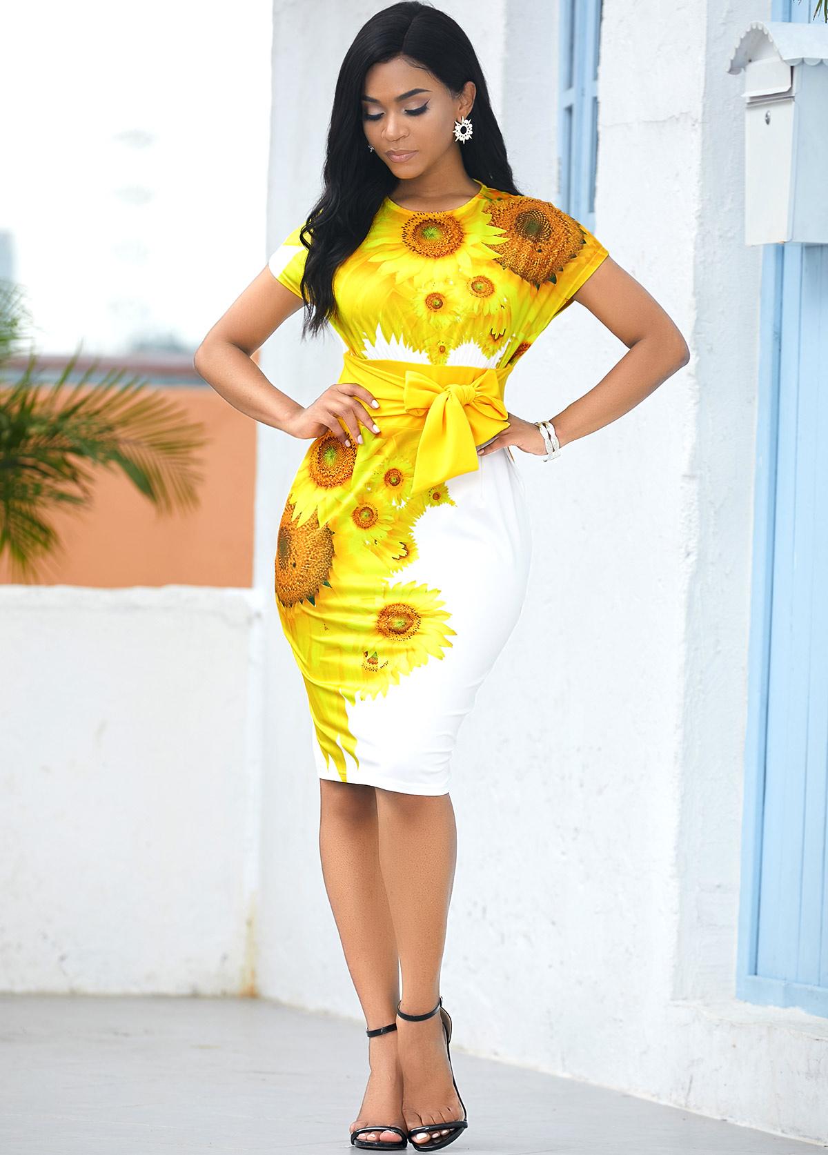 Sunflower Print Tie Waist Short Sleeve Dress